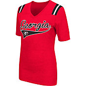 Colosseum Athletics Women's Georgia Bulldogs Red Artistic V-Neck T-Shirt