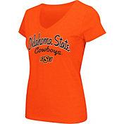 Colosseum Athletics Women's Oklahoma State Cowboys Orange Script Graphic V-Neck T-Shirt