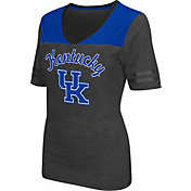 Colosseum Athletics Women's Kentucky Wildcats Grey Twist V-Neck T-Shirt