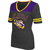 Colosseum Athletics Women's LSU Tigers Grey Twist V-Neck T-Shirt