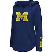 Colosseum Athletics Women's Michigan Wolverines Blue Walkover V-Neck Hooded Pullover