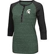 Colosseum Women's Michigan State Spartans Green Three-Quarter Sleeve Henley Shirt