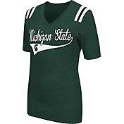 Colosseum Athletics Women's Michigan State Spartans Green Artistic V-Neck T-Shirt