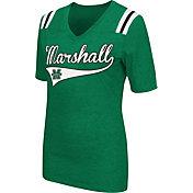 Colosseum Athletics Women's Marshall Thundering Herd Green Artistic V-Neck T-Shirt