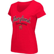 Colosseum Athletics Women's Maryland Terrapins Red Script Graphic V-Neck T-Shirt