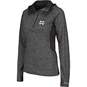 Colosseum Women's Mississippi State Bulldogs Grey Downhill Quarter-Zip Hooded Wind Shirt