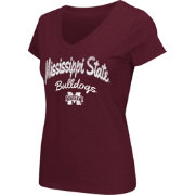 Colosseum Athletics Women's Mississippi State Bulldogs Maroon Script Graphic V-Neck T-Shirt