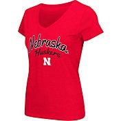 Colosseum Athletics Women's Nebraska Cornhuskers Scarlet Script Graphic V-Neck T-Shirt