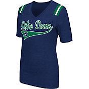 Colosseum Athletics Women's Notre Dame Fighting Irish Navy Artistic V-Neck T-Shirt