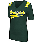 Colosseum Athletics Women's Oregon Ducks Green Artistic V-Neck T-Shirt