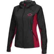 Colosseum Athletics Women's Arkansas Razorbacks Black/Cardinal Step Out Windbreaker