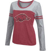 Colosseum Athletics Women's Arkansas Razorbacks Cardinal Leap Scoop Neck Long Sleeve Shirt
