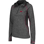 Colosseum Women's Arkansas Razorbacks Grey Downhill Quarter-Zip Hooded Wind Shirt