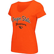 Colosseum Athletics Women's Oregon State Beavers Orange Script Graphic V-Neck T-Shirt