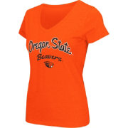 Colosseum Athletics Women's Oregon State Beavers Orange Script Graphic V-Neck T-Shirt
