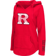 Colosseum Athletics Women's Rutgers Scarlet Knights Scarlet Walkover V-Neck Hooded Pullover