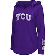 Colosseum Athletics Women's TCU Horned Frogs Purple Walkover V-Neck Hooded Pullover