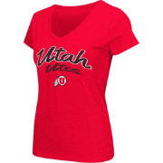 Colosseum Athletics Women's Utah Utes Crimson Script Graphic V-Neck T-Shirt