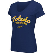 Colosseum Athletics Women's Toledo Rockets Midnight Blue Script Graphic V-Neck T-Shirt