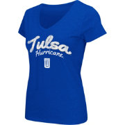 Colosseum Athletics Women's Tulsa Golden Hurricane Blue Script Graphic V-Neck T-Shirt