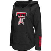 Colosseum Athletics Women's Texas Tech Red Raiders Walkover Black V-Neck Hooded Pullover