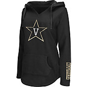 Colosseum Athletics Women's Vanderbilt Commodores Walkover V-Neck Hooded Black Pullover