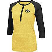 Colosseum Women's Iowa Hawkeyes Gold Three-Quarter Sleeve Henley Shirt