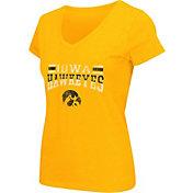 Colosseum Athletics Women's Iowa Hawkeyes Gold Graphic V-Neck T-Shirt