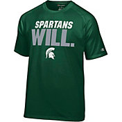 Champion Men's Michigan State Spartans Green Football Slogan T-Shirt
