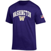 Champion Men's Washington Huskies Purple American Flag T-Shirt