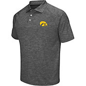 Chiliwear Men's Iowa Hawkeyes Grey Grid Performance Polo