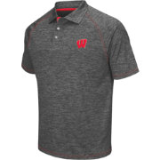 Chiliwear Men's Wisconsin Badgers Grey Grid Performance Polo