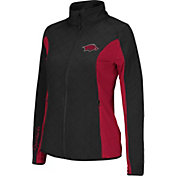 Colosseum Athletics Women's Arkansas Razorbacks Black/Cardinal Alpine Quilted Full-Zip Jacket
