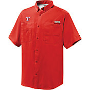 Columbia Men's Texas Rangers Red Tamiami Performance Short Sleeve Shirt