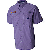 Columbia Men's LSU Tigers Gingham Checkered Super Bonehead Shirt