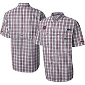 Columbia Men's Texas A&M Aggies Maroon Gingham Checkered Super Bonehead Shirt