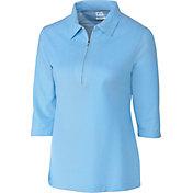 Cutter & Buck Women's Blaine Oxford Three-Quarter Sleeve Zip Golf Polo