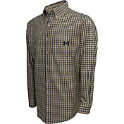 Campus Specialties Men's Michigan Wolverines Blue Multi-Checkered Woven Long Sleeve Shirt