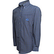 Campus Specialties Men's North Carolina Tar Heels Carolina Blue Multi-Checkered Woven Long Sleeve Shirt
