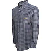 Campus Specialties Men's Pitt Panthers Blue Multi-Checkered Woven Long Sleeve Shirt