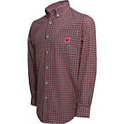Campus Specialties Men's Wisconsin Badgers Red Multi-Checkered Woven Long Sleeve Shirt