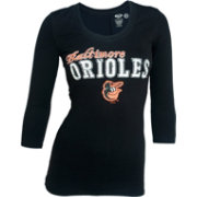 Concepts Sport Women's Baltimore Orioles Black Three-Quarter Sleeve Shirt