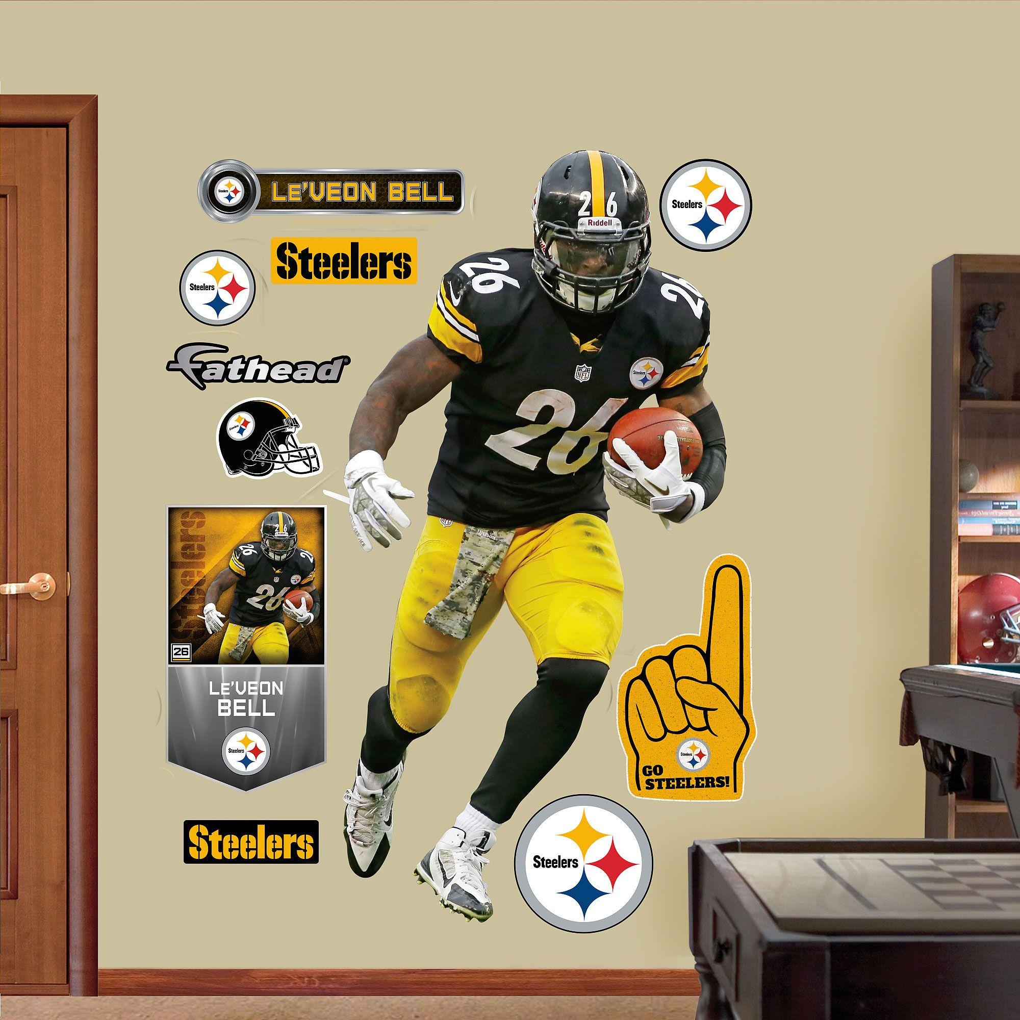 Fathead Le Veon Bell 26 Pittsburgh Steelers Real Big Wall Graphic