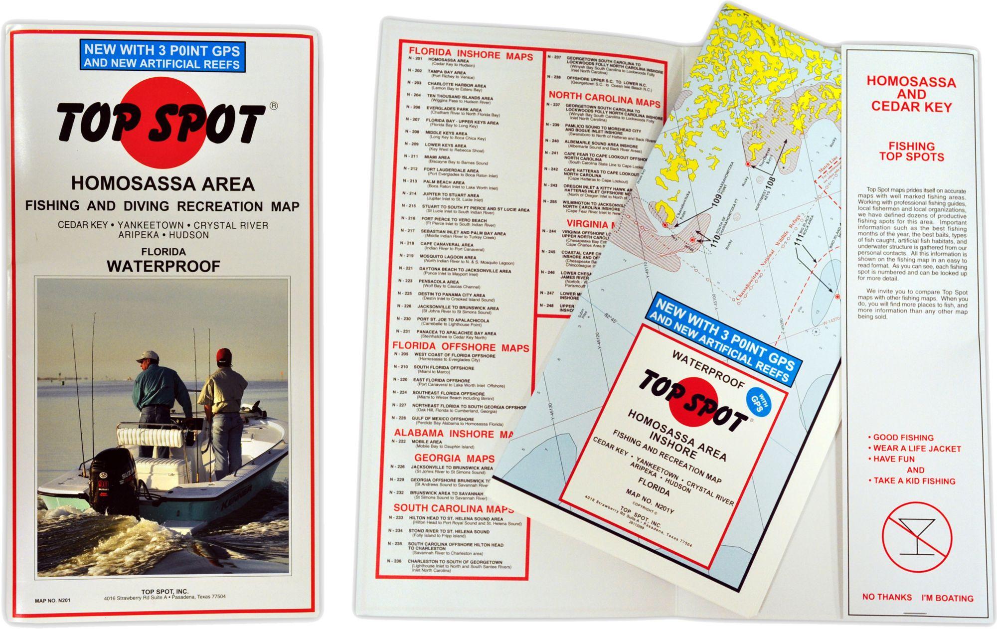 Top Spot Florida Homosassa Area Fishing Map DICKS Sporting Goods - Florida map crystal river