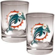 Great American Products Miami Dolphins 2-Piece Logo Rocks Glass Set