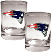 Great American Products New England Patriots 2-Piece Logo Rocks Glass Set