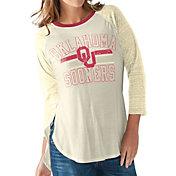 G-III For Her Women's Oklahoma Sooners White/Cream Hang Time Three-Quarter Shirt