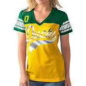 G-III For Her Women's Oregon Ducks Yellow/Green Pass Rush T-Shirt