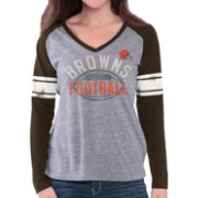 G-III for Her Women's Cleveland Browns Tri-Blend Franchise Grey Long Sleeve Shirt
