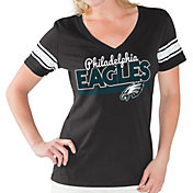 Touch by Alyssa Milano Women's Philadelphia Eagles Foil V-Neck Black T-Shirt